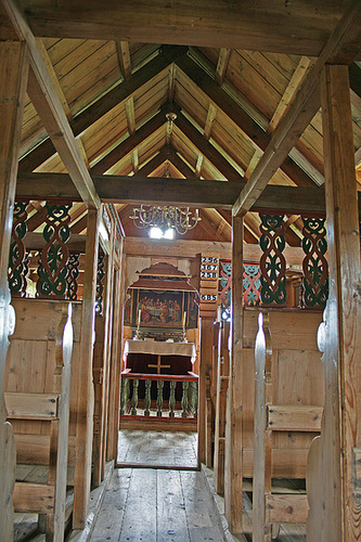 Wooden church interior - Víðimýri