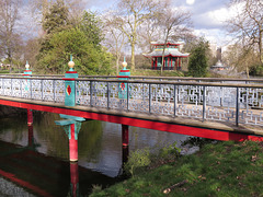 chinese temple and bridge, victoria park, east london