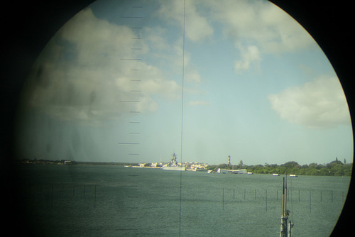USS Missouri, through a periscope.