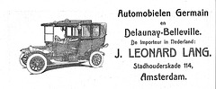 1914 Advertisement for Germain and Delaunay-Belleville automobiles by the Dutch importer J. Leonard Lang