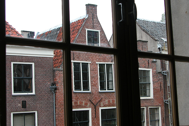 View from a window of the Gravensteen in Leiden, the Netherlands