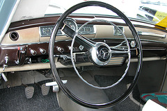Mercs at the National Oldtimer Day: dashboard of a 1950s Mercedes-Benz 180 A