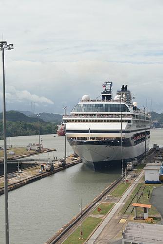 Cruise ship entering the locks