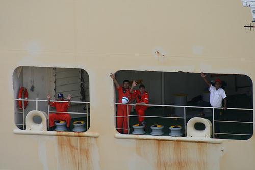 Crew on cargo ship
