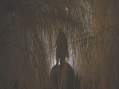 The statue of mayor Van der Werff at night