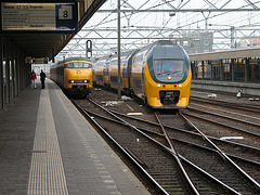 Overtaking train in Leiden