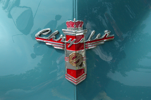Car Badges at the National Oldtimer Day in Holland: 1948 Chrysler New Yorker