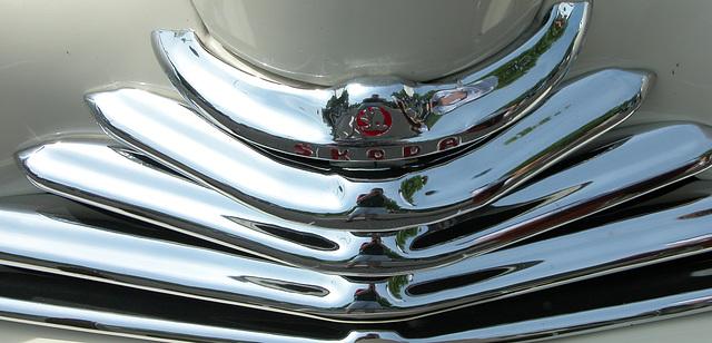 Car Badges at the National Oldtimer Day in Holland: 1949 Skoda 1101 Roadster