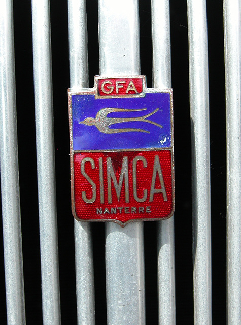 Car Badges at the National Oldtimer Day in Holland: 1951 Simca 8-1200 Berline