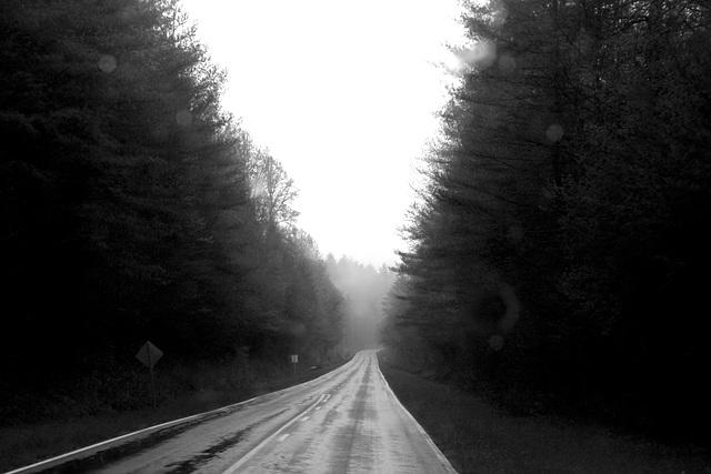 Van, road, rain, camera