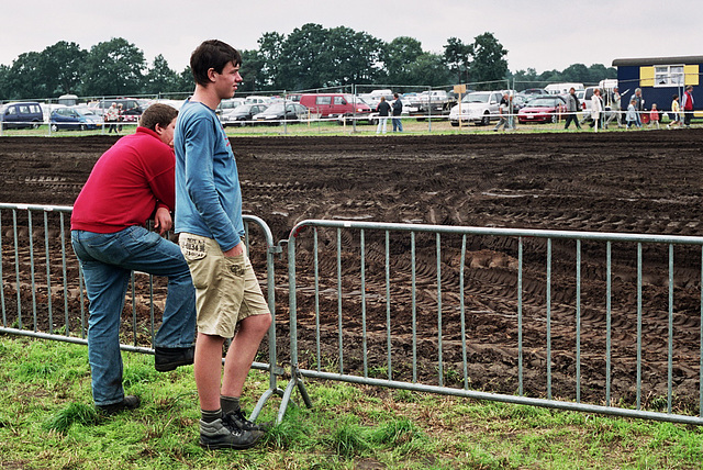 Boys watching the tractors
