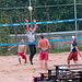 Volleybal: door twee ploegen van zes spelers, gespeeld balspel waarmee sommige mensen zich vermaken, bestaande in het heen en weer slaan van een bal over een net.