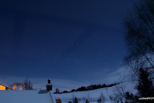 Stars by moonlight from 57 Degrees North  looking ESE 17 Dec 2010 four days before full moon