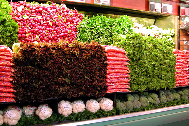 Walls of vegetables at the fancy supermarket in the Pearl district