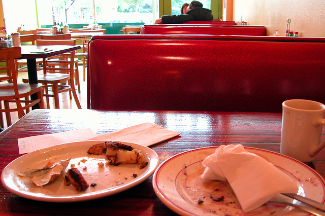 My breakfast: Hell's Huevos and Blueberry Pancakes at the Cup-and-Saucer cafe on Hawthorne