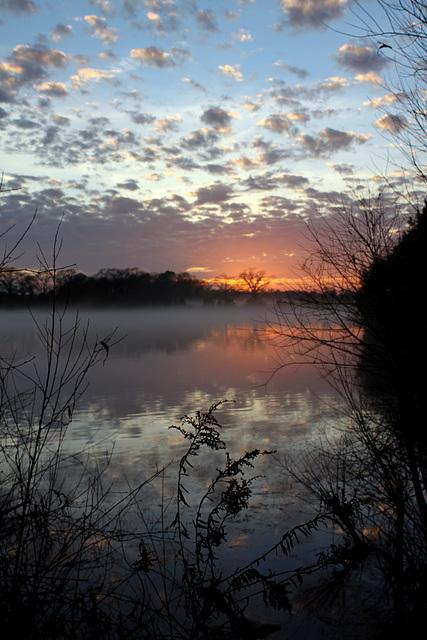 Sunset and mist