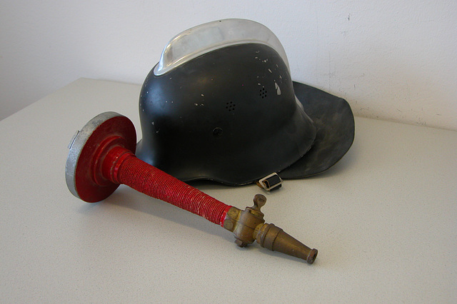 Office equipment: old fire fighting gear