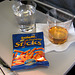 Meals on the plane: Whisky, water and Cheesy Sticks!