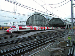 TGV train Thalys with Fortis Bank advertisement at Amsterdam Central Station