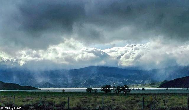 Rainstorm clearing over Lake Isabella, Febr. 1980 (000°)