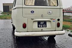 1967 Volkswagen camper van in the rain