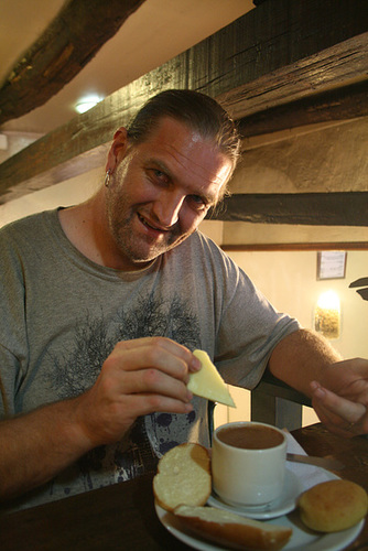 Dipping Cheese in Hot Chocolate