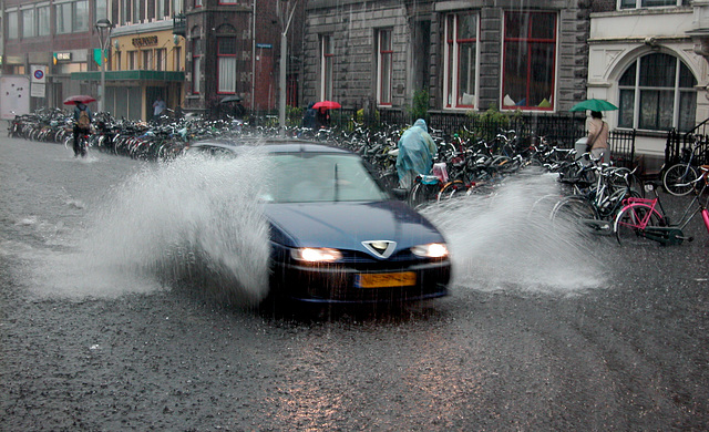 Heavy rain in Leiden today