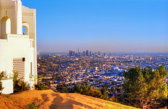 Downtown Los Angeles from Griffith Park Observatory, Febr. 1990 (165°)