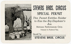 Steven Bros. Circus Permit to Kiss the Big Elephant