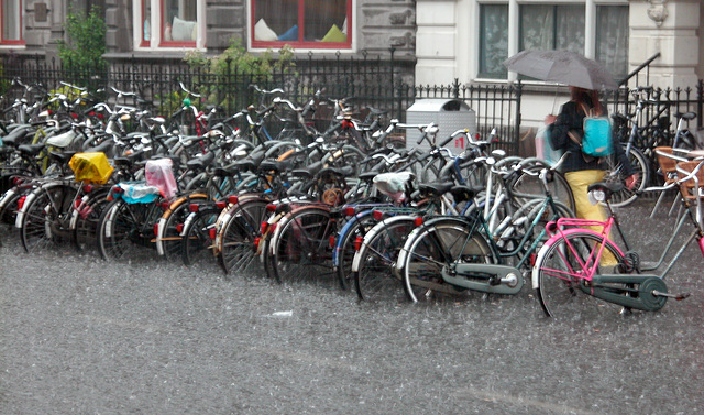 Heavy rain in Leiden today