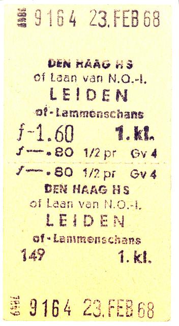 Railway tickets: Old Dutch railway ticket