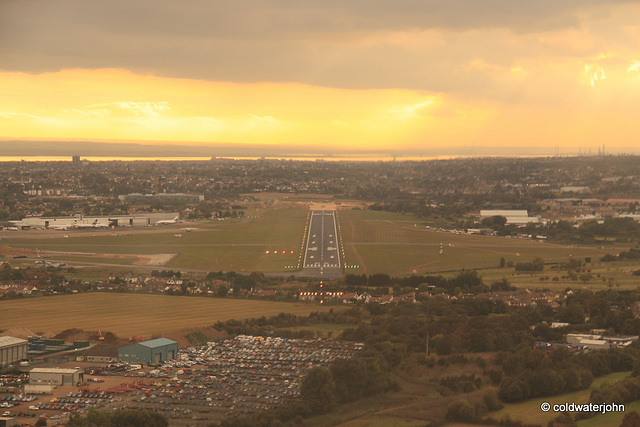 Coming in to land at Southend aerodrome at sunset