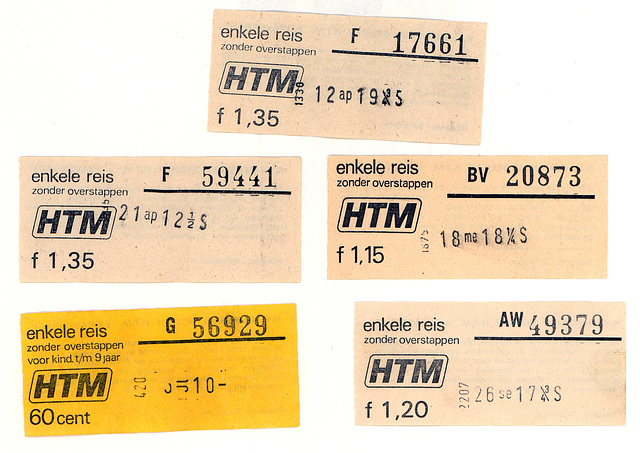 Old public transport tickets of the transport network of The Hague (HTM): Single fares