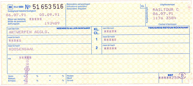 Railway tickets: International ticket from Antwerp to Roosendaal