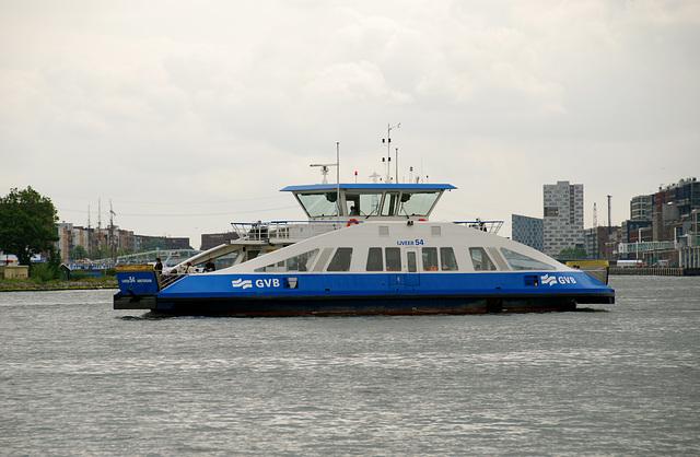 A trip with steam tug Adelaar: Amsterdam ferry crossing the IJ