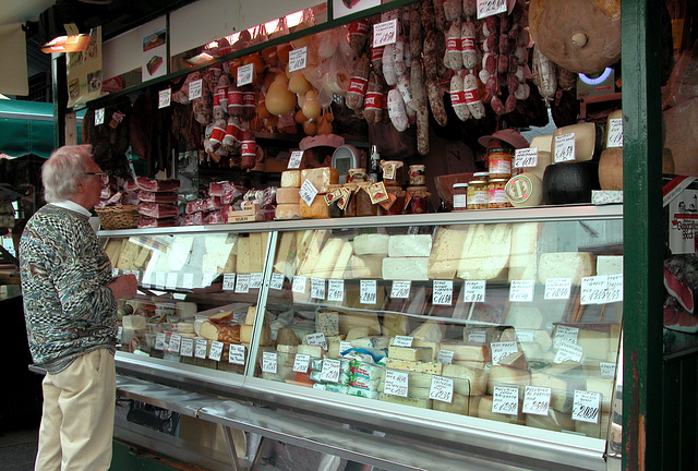 Holiday day 3: cheese and sausage stall in Bozen (Bolzano)