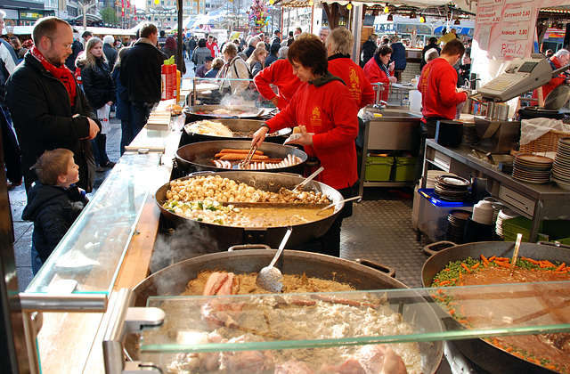 Sausages and assorted German dishes at Duisburg market