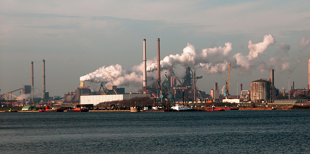 View of the steelworks Corus at IJmuiden