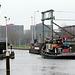 Ship passing the railway bridge near Leiden