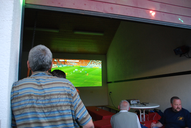 A weekend in the Eifel (Germany): Holland-Russia was projected on a big screen during the village fest