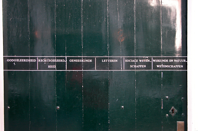 Names of the faculties on the door of the Academy building
