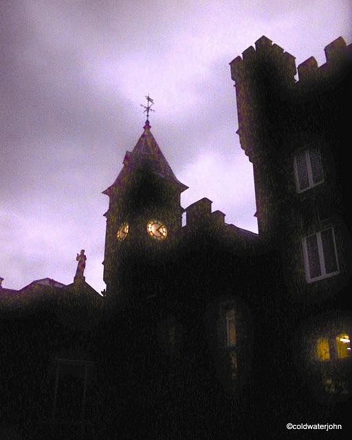 Winter evening - Craig y Nos Castle clocktower