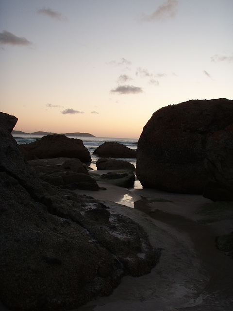 Squeaky Beach at sunset