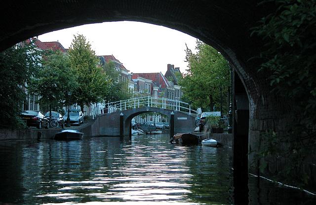 Boating in Leiden: bridges over the Vliet