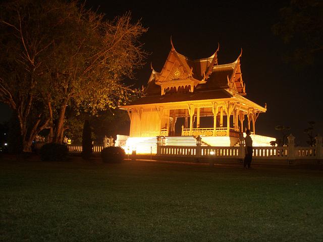 temple lit up near Banglampu