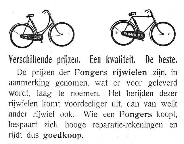 Advertisement of Fongers bicycles