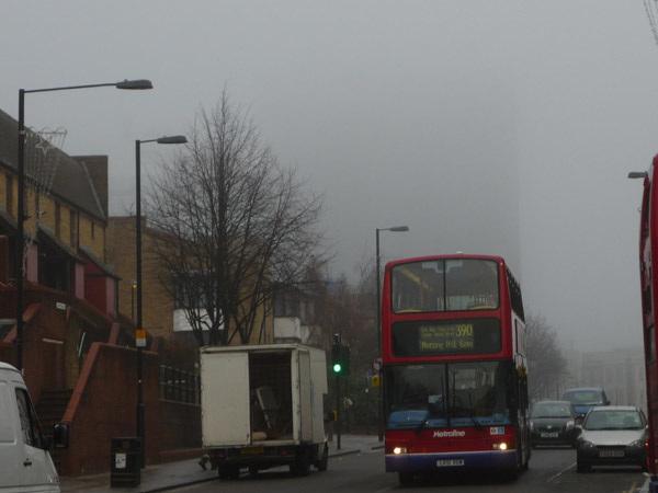 Junction Road in the fog