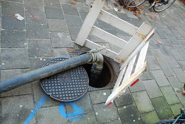 A open manhole – manhole cover of TBS