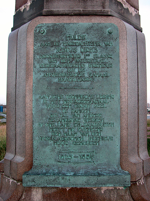 Text on the monument for Justus Dirks