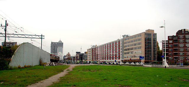 The rather desolate Station Square in Leiden